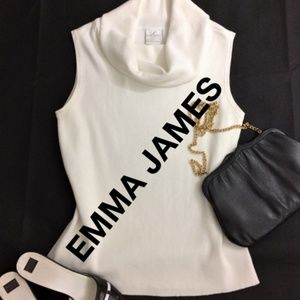 Emma James Classic White Knit Cowl Neck Sweater